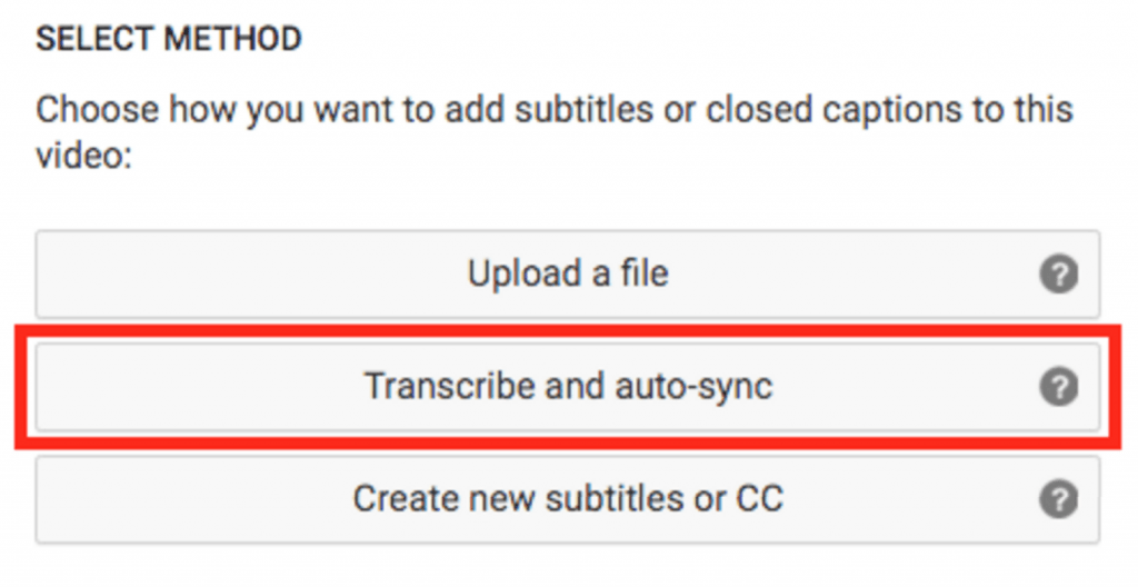 YouTube allows for transcription and auto synching