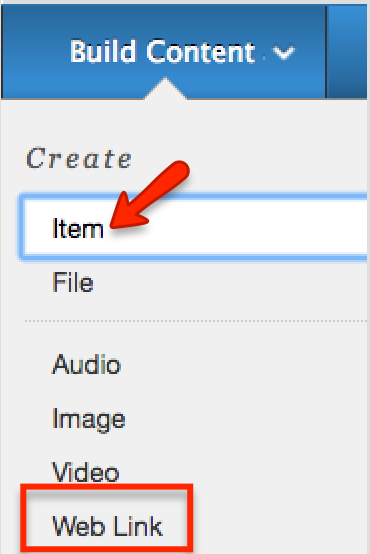 how to add a web link under create item