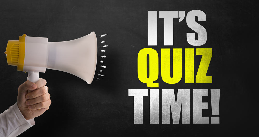 "megaphone saying ""It's quiz time"""