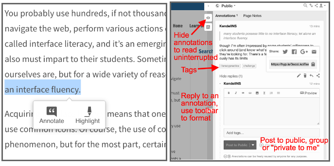Using annotation tools in your browser