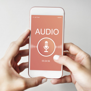 A picture of a generic audio recording app on a smartphone