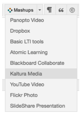 Using Blackboard Mashup for Kaltura Media