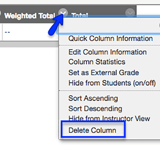 In full Grade Center view choose the chevron next to the Total column and scroll to Delete Column, select it