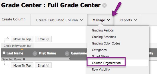 From Grade Center, select Manage then Column Organization