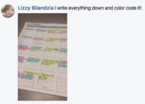 """Lizzy Bilandzia says """"I write everything down and color code it!"""""""