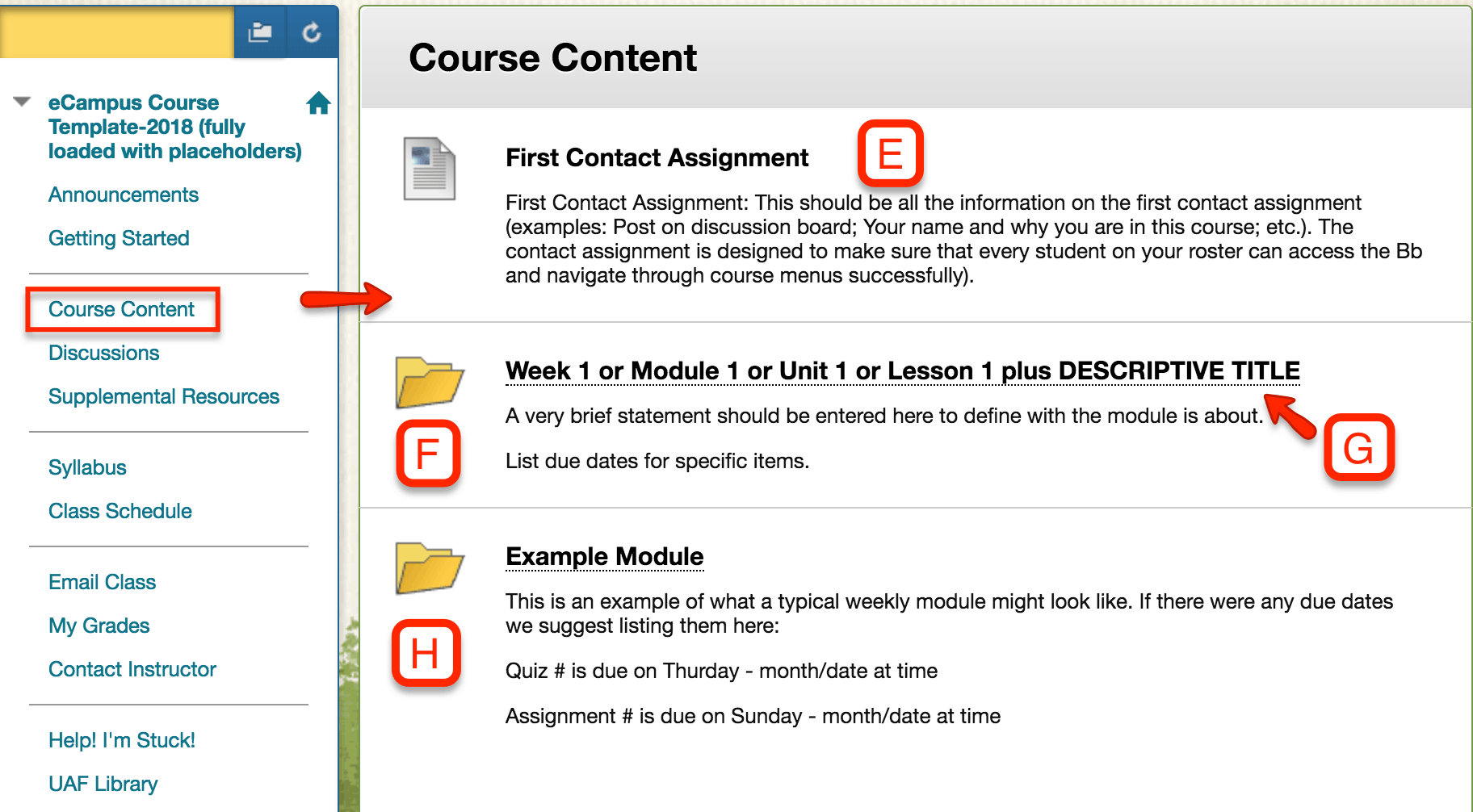 An example of what a course content page looks like
