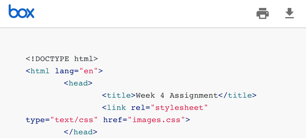 html document displayed in new box view grader