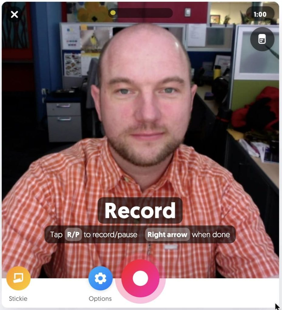 A flipgrid recording window with a user.