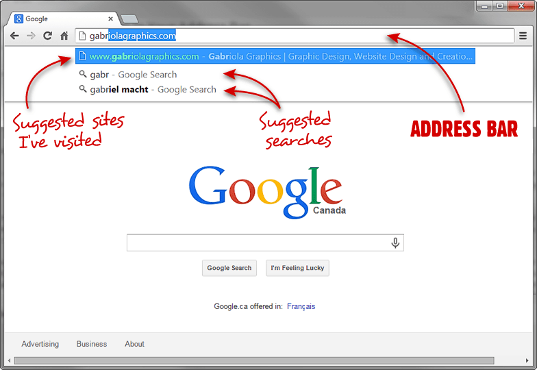Google URL search screenshot dropdown of visited and suggested sites