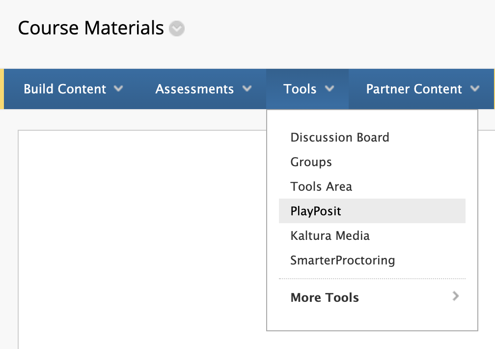 Blackboard Tools menu with PlayPosit link available in the dropdown.