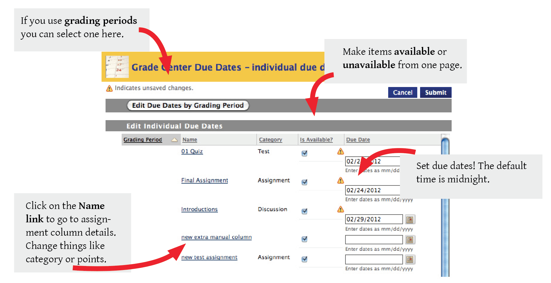 Explains what you'd see on the Set Grade Center Dues Dates screen. Edit Due dates by Grading period is in upper left. Click on the name of an assignment to go to the assignment details. Make an assignment available or unavailable. Set a due date in the text box including a time. The default is midnight.