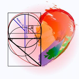 golden ratio and watercolor heart