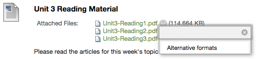 Unit three reading material with alternative formats listed