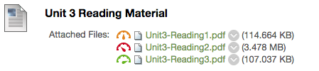 Unit 3 reading material with attached files listed and score