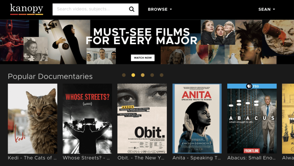 Kanopy landing page listing movie titles