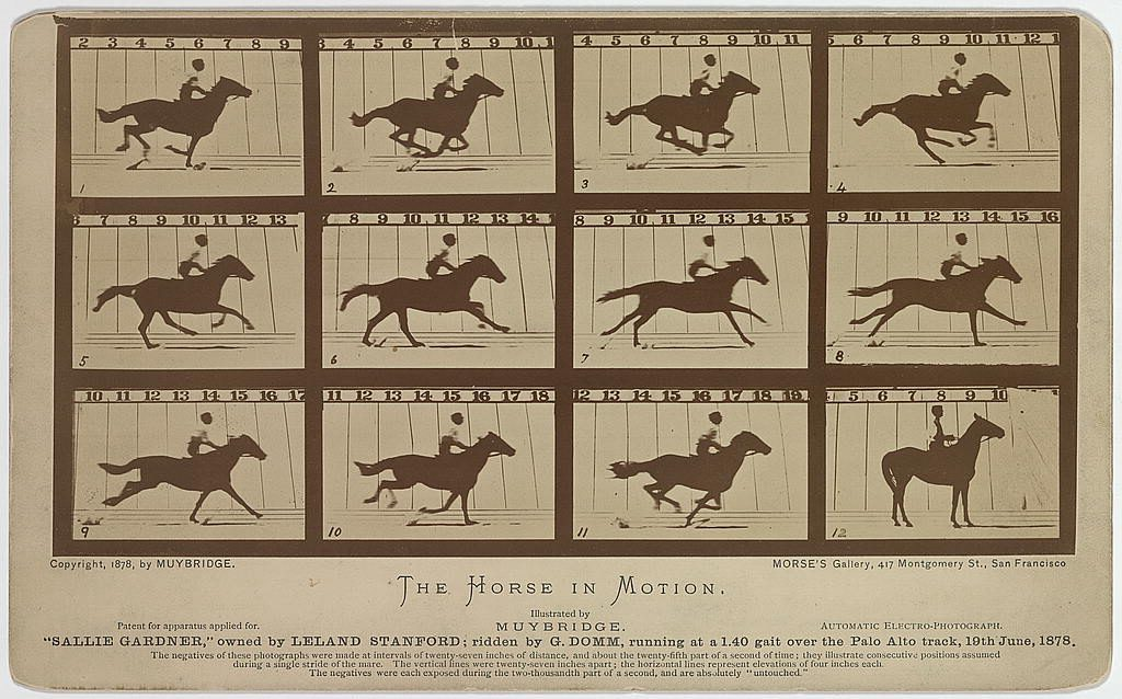 Twelve consecutive images of a man riding a horse.