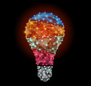 Lightbulb shape with multi-colored lights