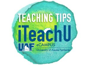 The eCampus iTeachU logo with watercolor swatch of blue green behind the text.
