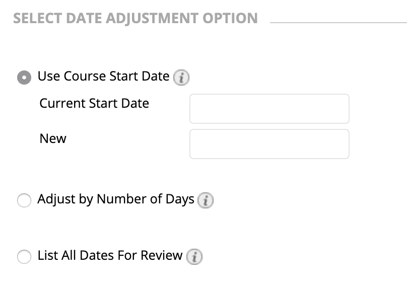 screen shot showing Blackboard Date Management tool