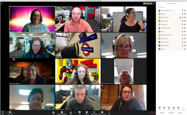 Screenshot of 12 people in a videoconference using Zoom.