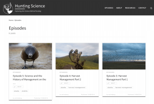 A screenshot of the Hunting Science podcast website, by Mark Lindberg