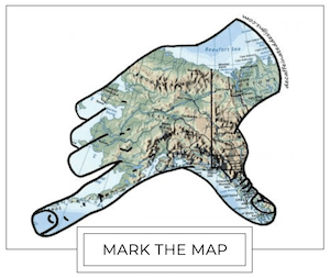 decorative mark the map alaska hand