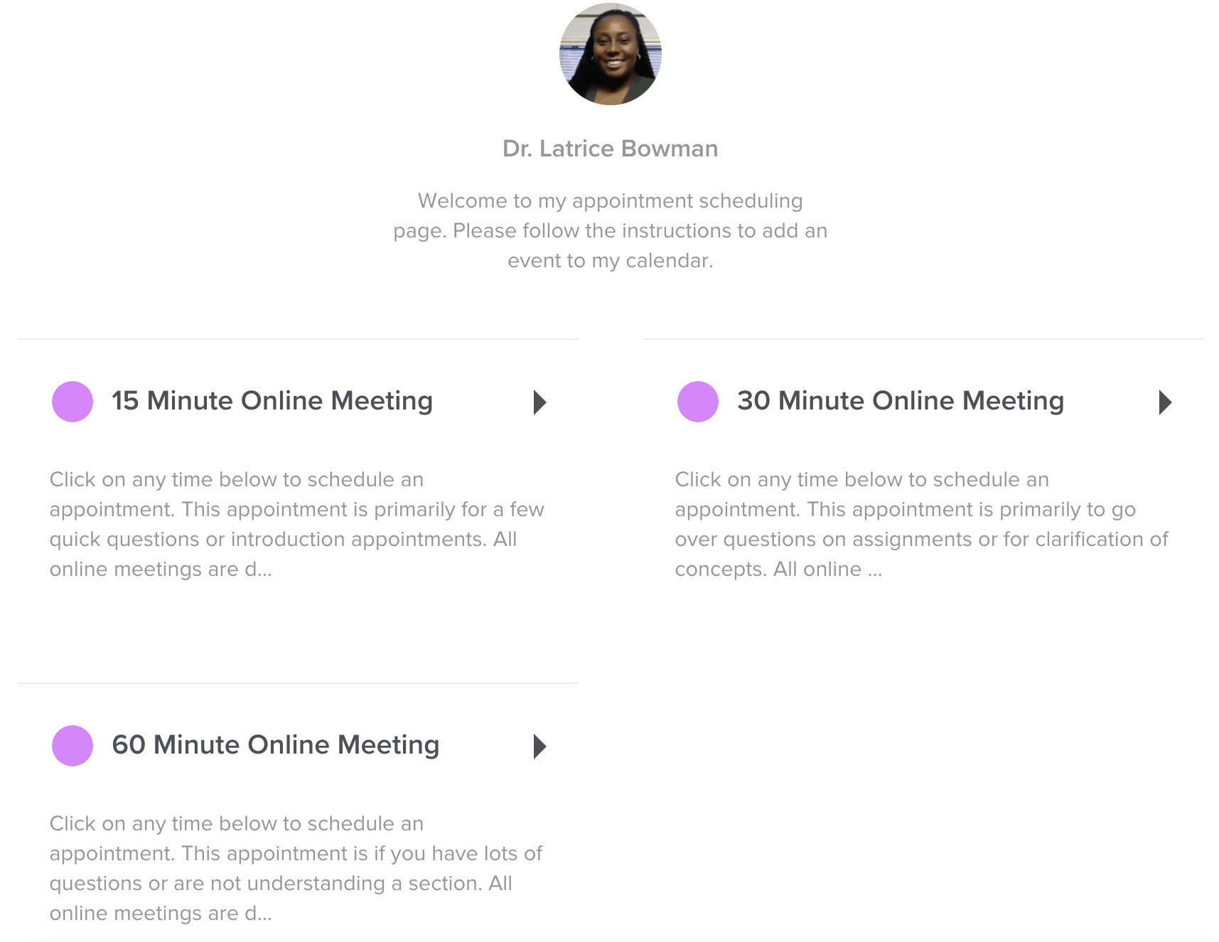 You Can Book Me office hour sign-up page