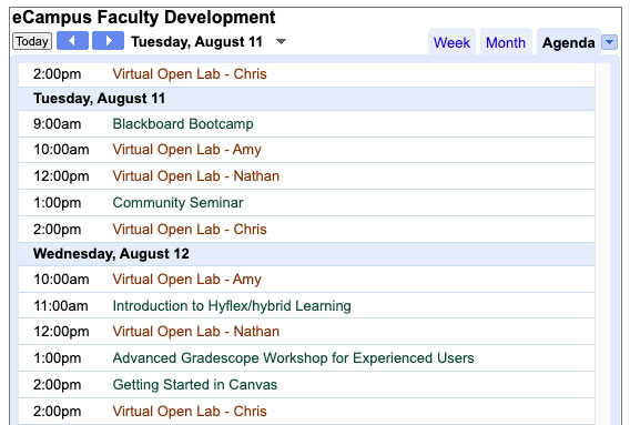 UAF eCampus faculty development calendar