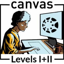 "Illustration of a woman looking at a computer screen with hands on keyboard. The words ""Canvas Levels 1 and 2"" appear around him."