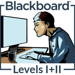"Illustration of a man looking at a computer screen with hands on keyboard. The words ""Blackboard Levels 1 and 2"" appear around him."