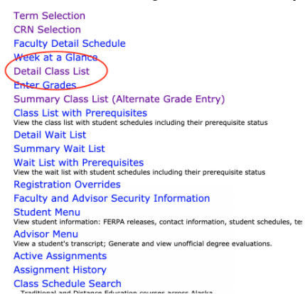List of options within UAOnline