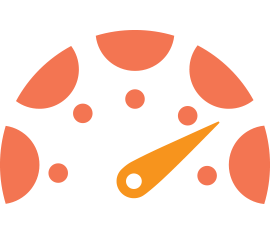 Orange graphic of a speedometer, representative of the Speed Grader feature in Canvas