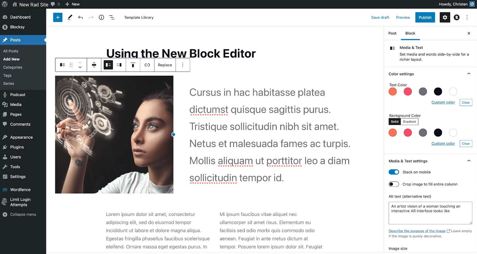 Screenshot of a post being built in the new block editor.