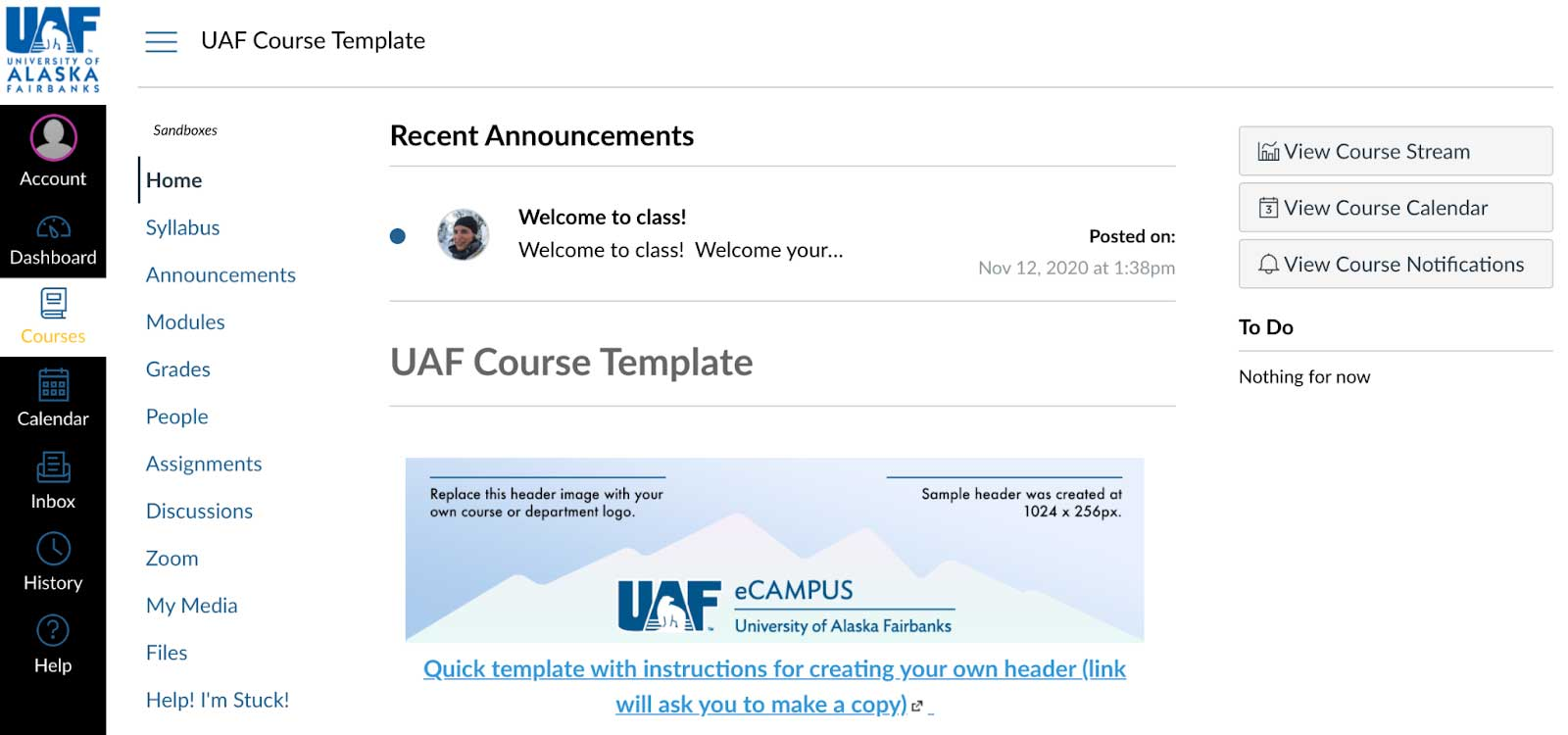 UAF Course Template in Canvas