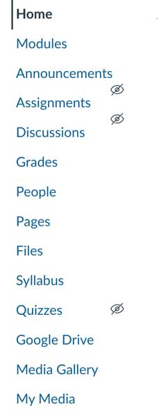 Left-aligned menu from within Canvas LMS, reads: Home, Modules, Announcements, Assignments, Discussions, Grades, People, Pages, Files, Syllabus, Quizzes, Google Drive, Media Gallery, My Media.