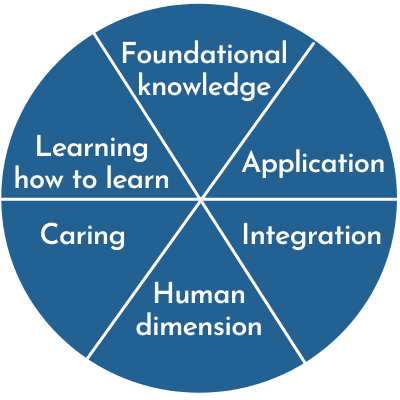 Major categories in Finks are Foundational Knowledge, Application, Integration, Human Dimension, Caring, and Learning how to Learn