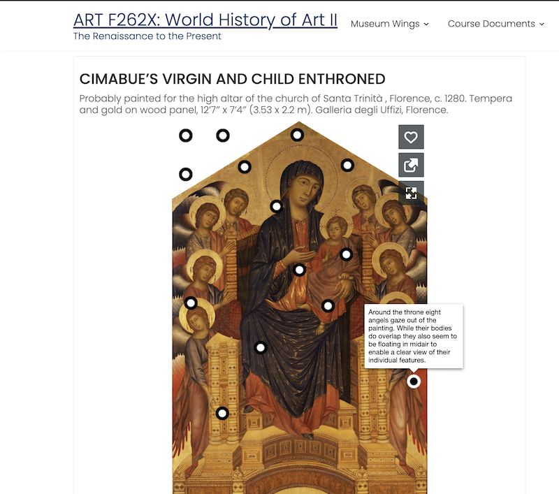 Screenshot of ART F262 Website. Page shows the painting: Virgin and Child Enthroned, by Cimabue and has multiple dots that when hovered over list annotations about the piece.