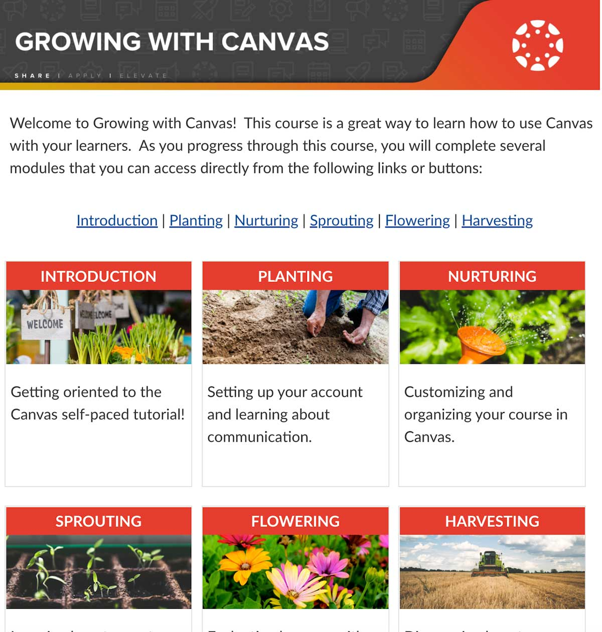 Screenshot of Growing with Canvas