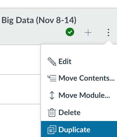 Screenshot of a menu within Canvas with the following options: Edit, Move Contents, Move Module, Delete, Duplicate.