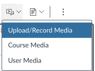 Screenshot showing the video/sound icon and its dropdown options: Upload/record media, Course media, User media.