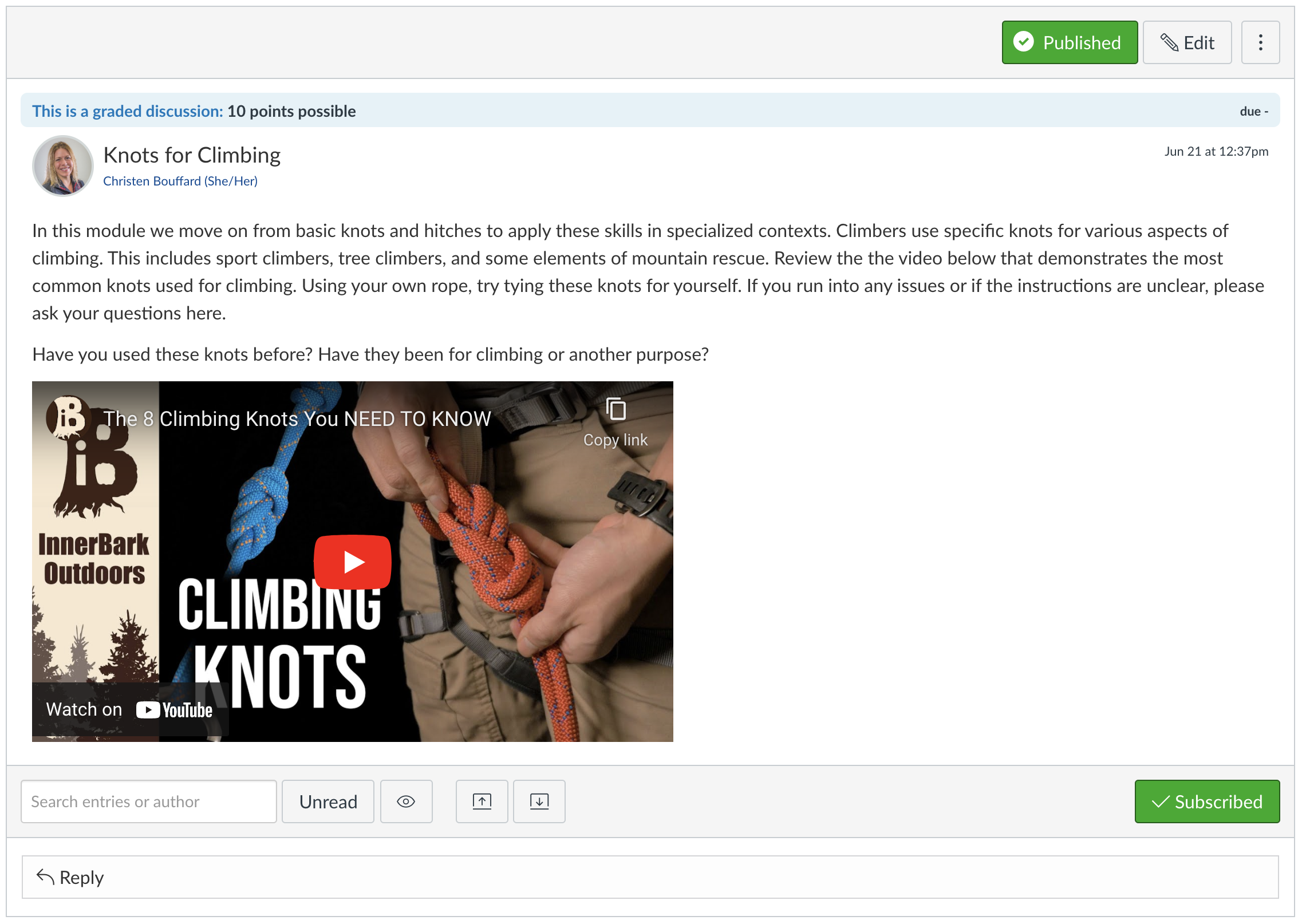 Screenshot of instructions for a discussion board, including an embedded video.