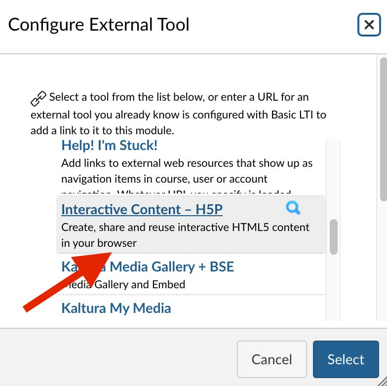 Screenshot of Canvas with a red arrow pointing to the Interactive Content - H5P option.